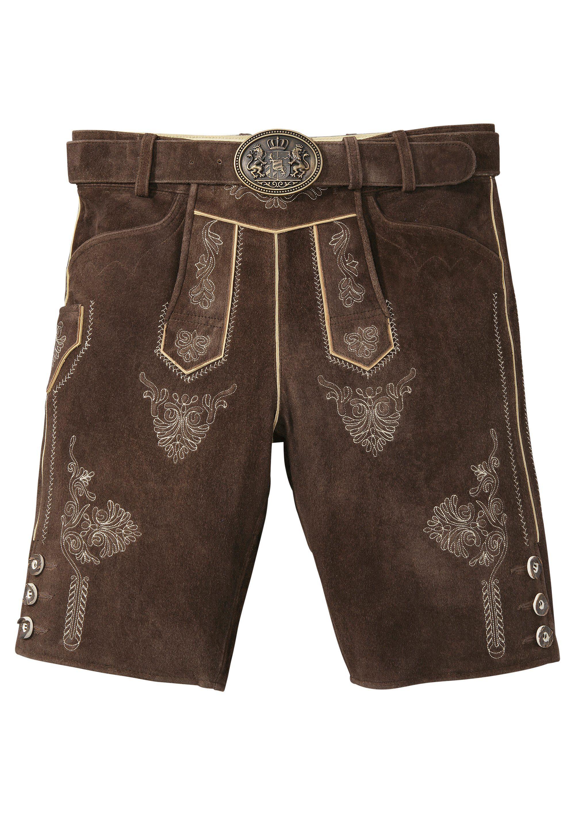 Country Line Trachtenlederhose kurz Herren aus weichem Ziegenveloursleder | Bekleidung > Hosen > Lederhosen | Braun | COUNTRY LINE