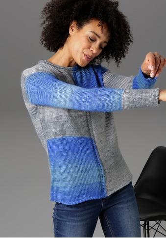 Aniston CASUAL Rundhalspullover, im trendigem Patch-Dessin und Farbverlauf - NEUE... kaufen