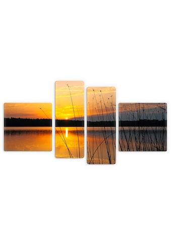 Wall-Art Glasbild »Sonnenuntergang am See«, 4-tlg. kaufen