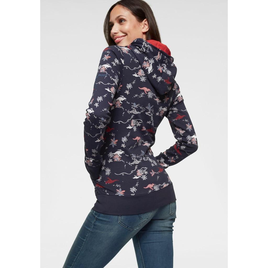 KangaROOS Kapuzensweatshirt, im Allover-Print mit kontrastfarbenem Kapuzen-Futter