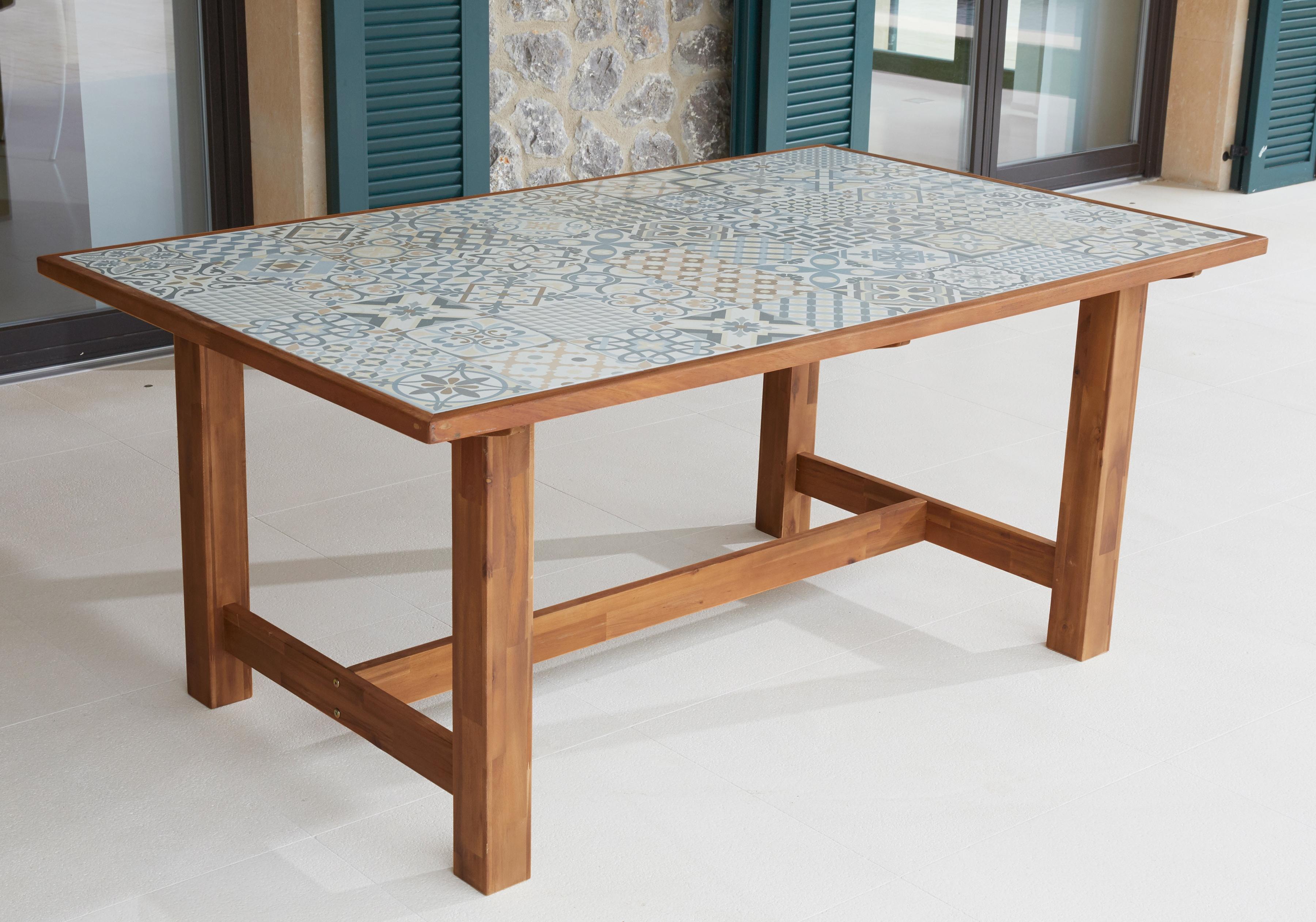 Merxx Gartentisch Torino Keramikfliesentisch Akazie 172x105