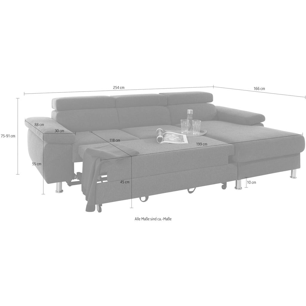 Nova Via Ecksofa »Lasse-Luxus«, mit besonders hochwertiger Polsterung für bis zu 140 kg pro Sitzfläche und wahlweise mit AquaClean-Stoff für leichte Reinigung mit Wasser