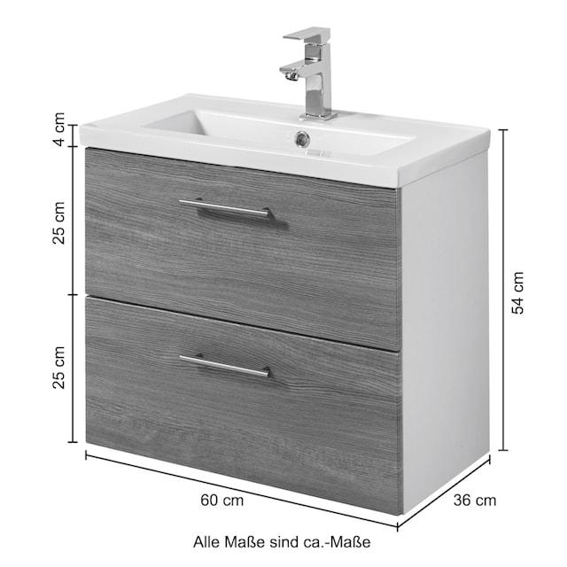 WELLTIME Waschtisch »Trento«, Waschtisch SlimLine, Breite 60 cm, Tiefe 36 cm, (2-tlg.)