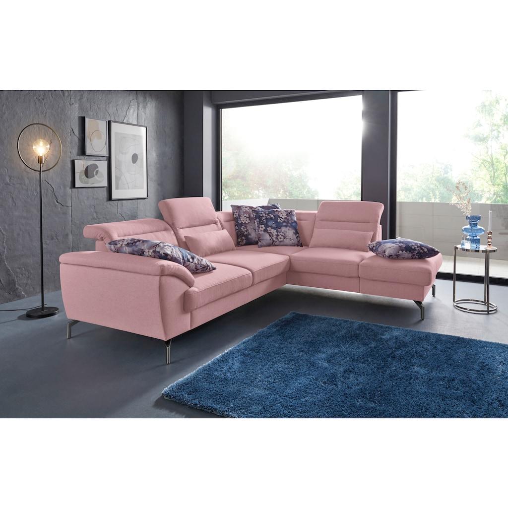 sit&more Ecksofa, 15 cm Fußhöhe, inklusive Sitztiefenverstellung, wahlweise Kopfteilverstellung, wahlweise in 2 unterschiedlichen Fußfarben