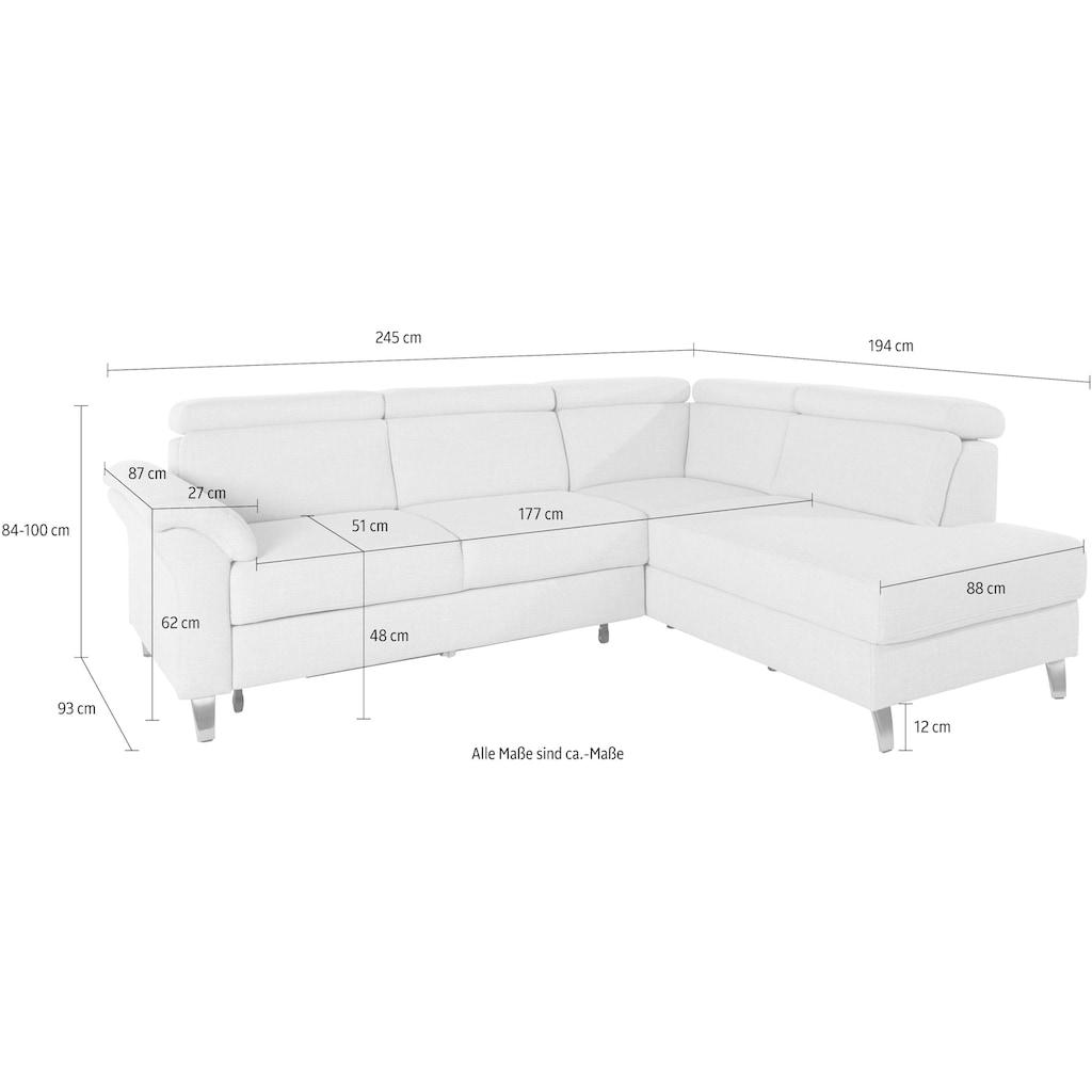 sit&more Ecksofa, inklusive Kopfteilverstellung und Federkern, wahlweise mit Bettfunktion und Bettkasten, frei im Raum stellbar