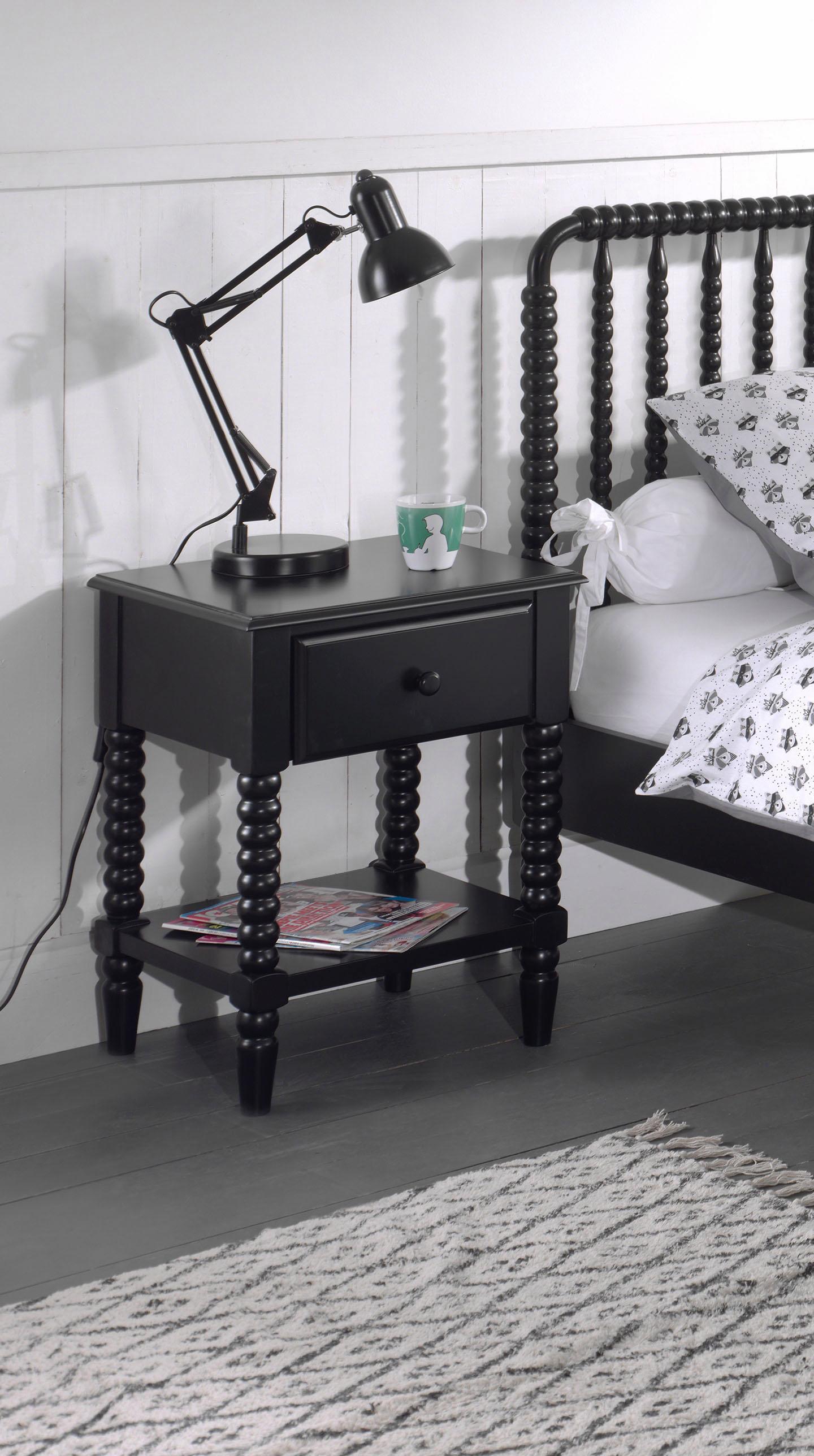 Vipack Nachttisch »Alana«, Massivholz mit MDF-Oberfläche   Schlafzimmer > Nachttische   Schwarz   Massivholz - Mdf - Massiver   VIPACK FURNITURE