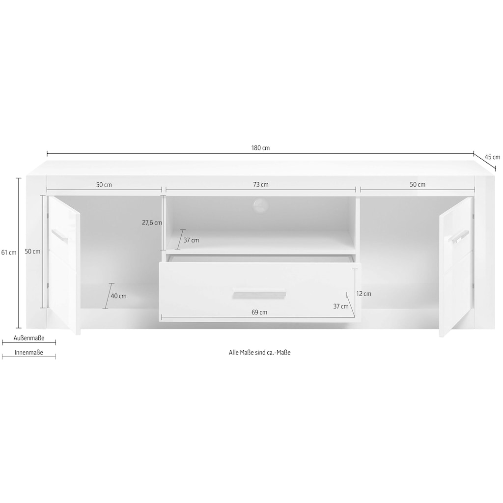 INOSIGN Lowboard »BIANCO«, Breite 180 cm