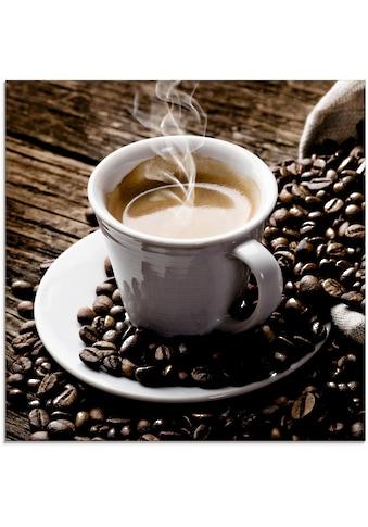 Artland Glasbild »Heißer Kaffee - dampfender Kaffee«, Getränke, (1 St.) kaufen