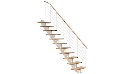 DOLLE Mittelholmtreppe »Hamburg Eiche 85«, bis 322 cm, Edelstahlgeländer, versch. Ausführungen kaufen