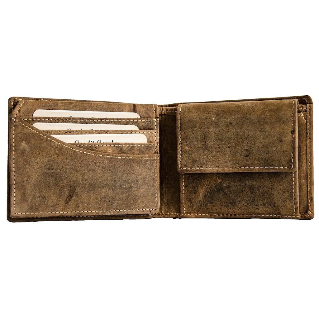 JACK'S INN 54 Geldbörse »ABSINTH«, aus Leder im Biker Style mit Kette und Totenkopf