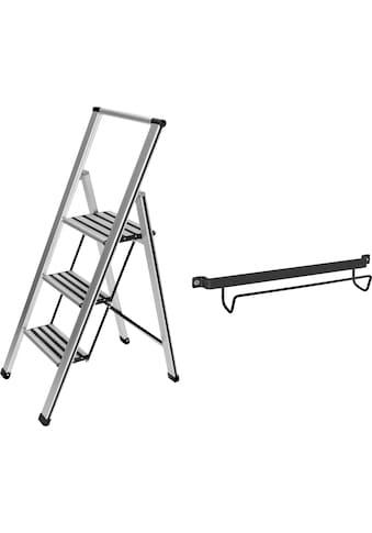 WENKO Trittleiter, 3-stufig, inklusive Leiternhalter, XXL-Stufen, flach klappbar,... kaufen