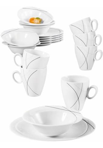 """Seltmann Weiden Frühstücks - Set """"Trio Highline"""" (18 - tlg.), Porzellan kaufen"""