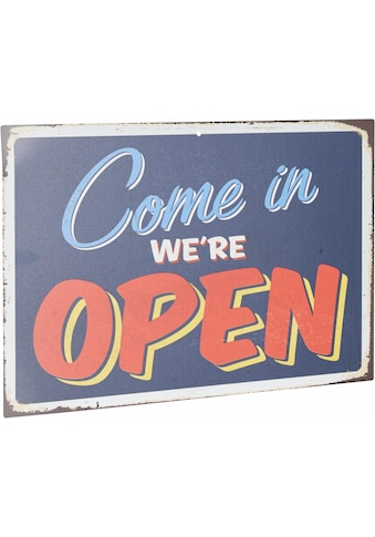 Home affaire Metallschild »Come in we´re open«, Maße (B/H): 45/30 cm kaufen