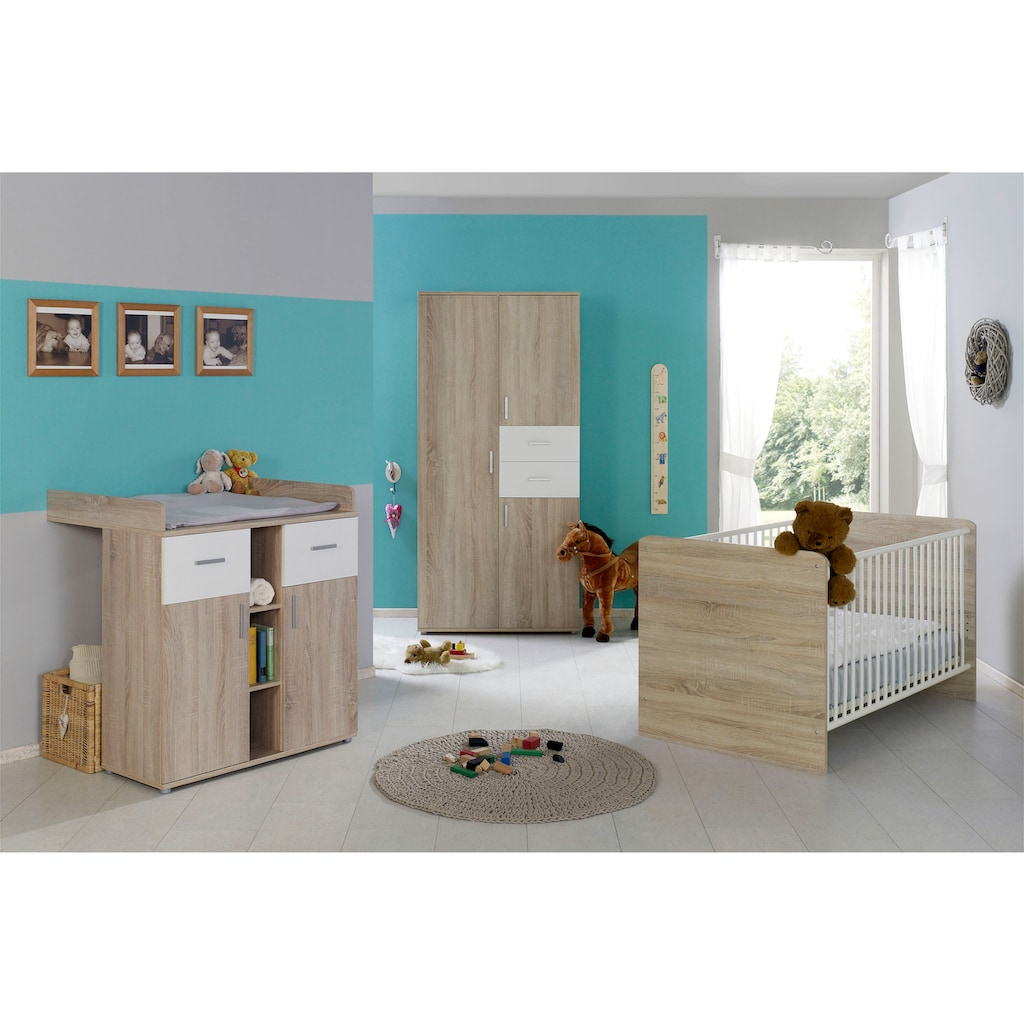 BMG Babyzimmer-Komplettset »Maxim«, (Set, 3 tlg.), Bett + Wickelkommode + 3-trg. Schrank