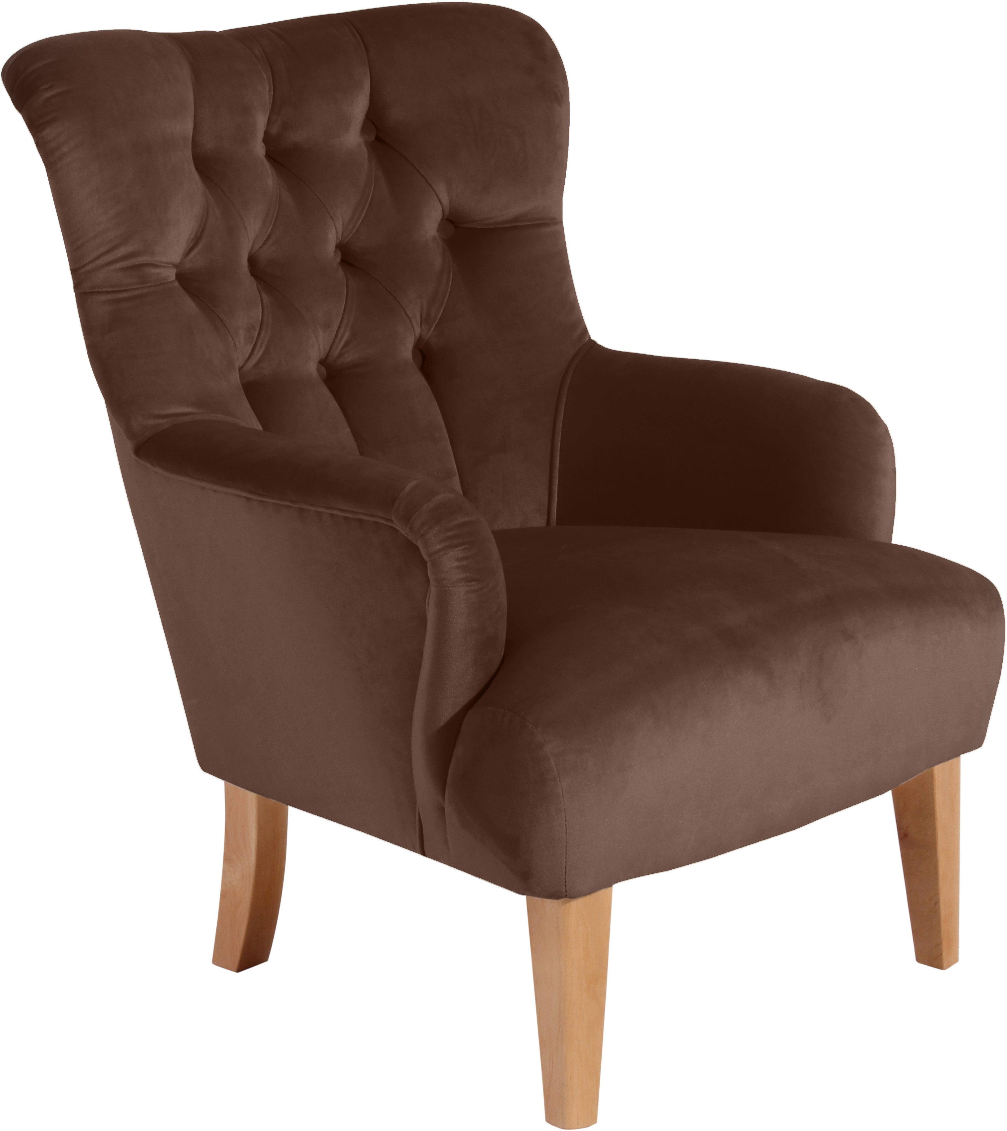 Max Winzer® Chesterfield-Sessel »Bradley« | Wohnzimmer > Sessel > Chesterfield Sessel | Braun | Buche | MAX WINZER