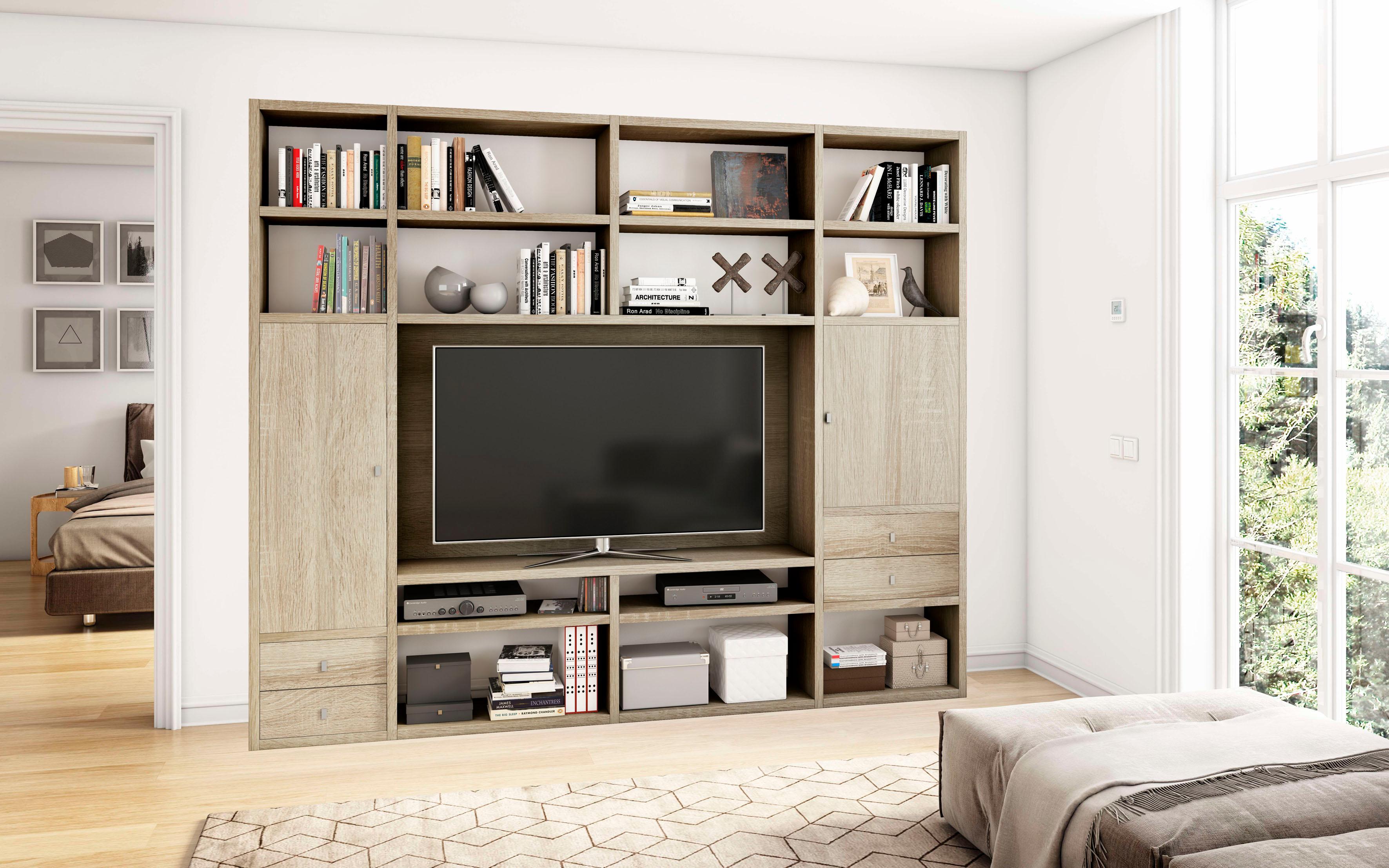 Wohnwand »TORO 375«, Breite 264,9 cm   Wohnzimmer > Schränke   Braun   Hochglanz - Sonoma - Eiche - Melamin   QUELLE
