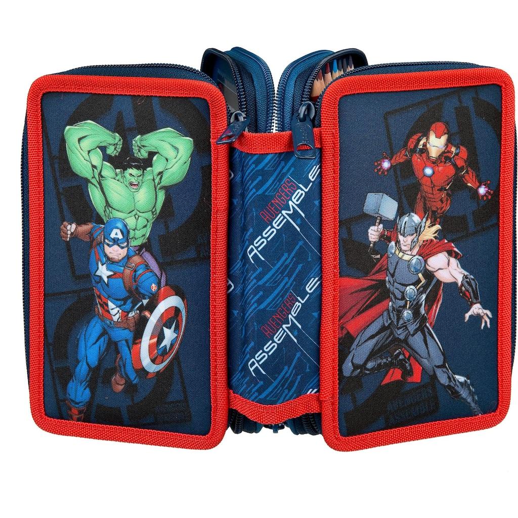 Scooli Schreibgeräteetui »Triple Decker, Avengers«, befüllt, inkl. Geodreieck