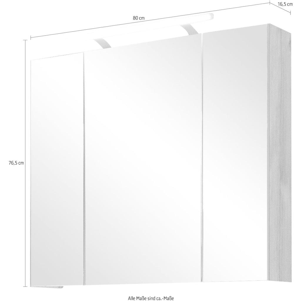 Schildmeyer Spiegelschrank »Isola«, Breite 80 cm, 3-türig, LED-Beleuchtung, Schalter-/Steckdosenbox, Made in Germany