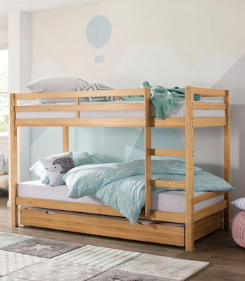 Hochbett aus Holz mit zwei Schlafmöglichkeiten