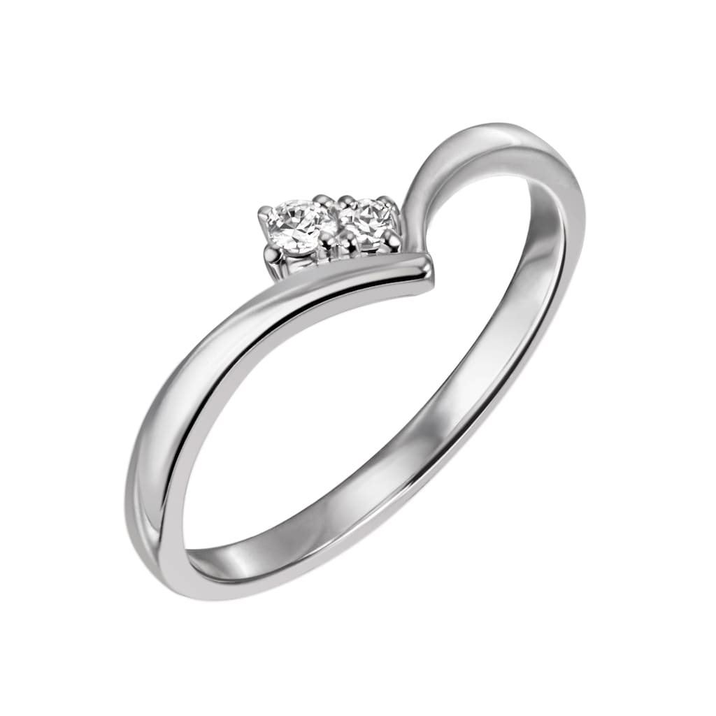 Firetti Diamantring »ca. 1,7 mm breit, glänzend, rhodiniert, massiv«, mit Brillanten