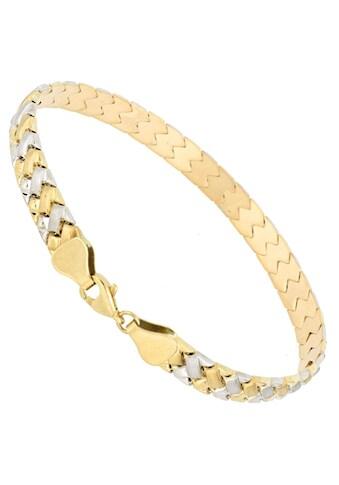 Firetti Goldarmband »Stampatokettengliederung, 6,8 mm breit, Glanz, satiniert, teilw. rhodiniert, Bicolor - Optik« kaufen