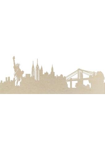Wall - Art Wanddekoobjekt »Pappel Furnier  -  Skyline New York« kaufen