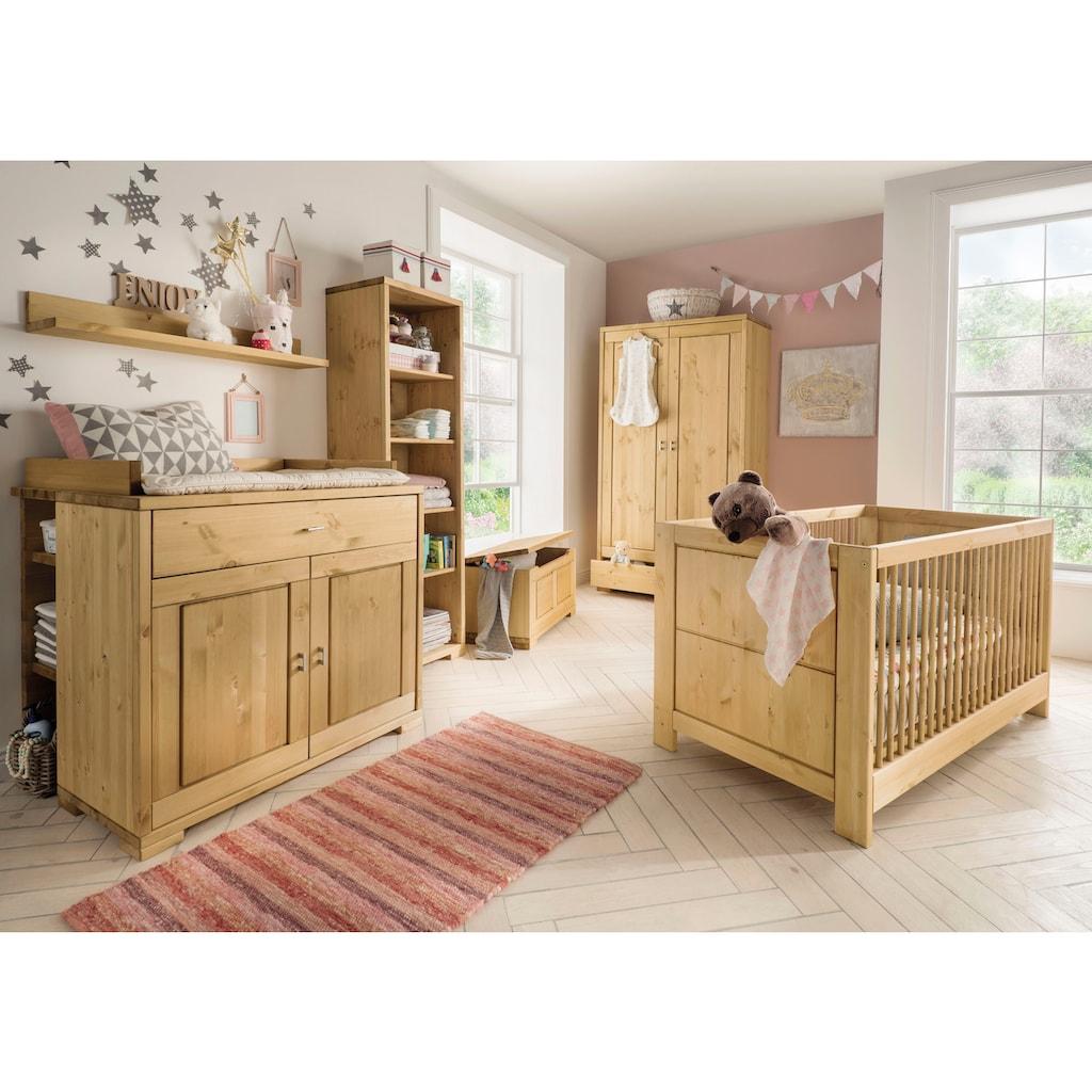Fantasykids Babyzimmer-Komplettset, (Set, 7 tlg., Bett + Wickelkommode + 1x Unterbauregal + 2-trg. Schrank + Strandregal + Deckeltruhe + Wandboard)
