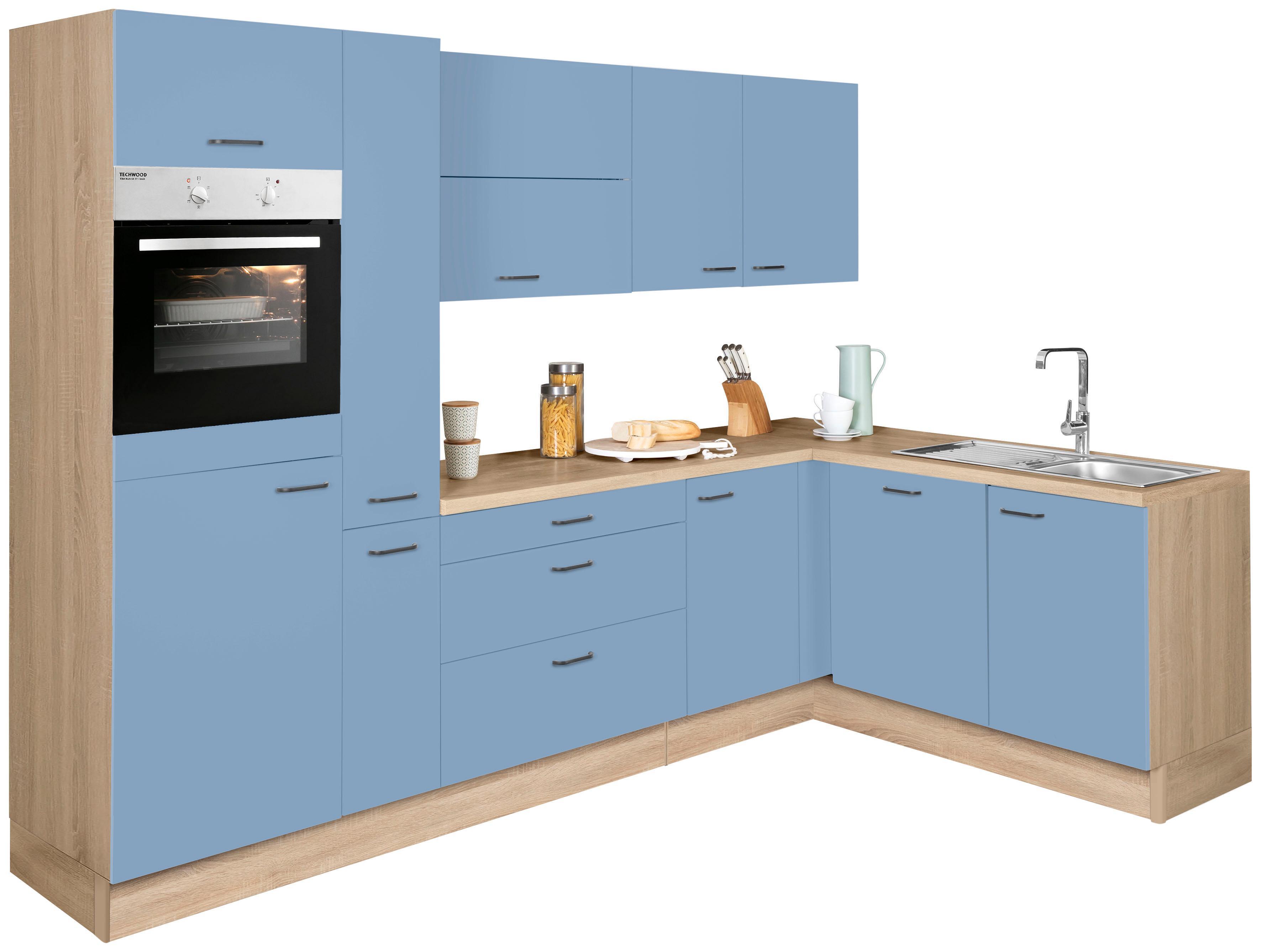 OPTIFIT Winkelküche ohne E-Geräte »Elga«, Stellbreite 265 x 175 cm | Küche und Esszimmer > Küchen > Winkelküchen | Blau | Eiche - Nachbildung - Edelstahl - Melamin | OPTIFIT