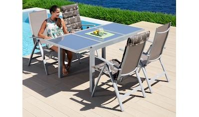 MERXX Gartenmöbelset »Amalfi«, 5 - tlg., 4 Klappsessel, Tisch 90x120 - 180 cm, Alu/Textil kaufen