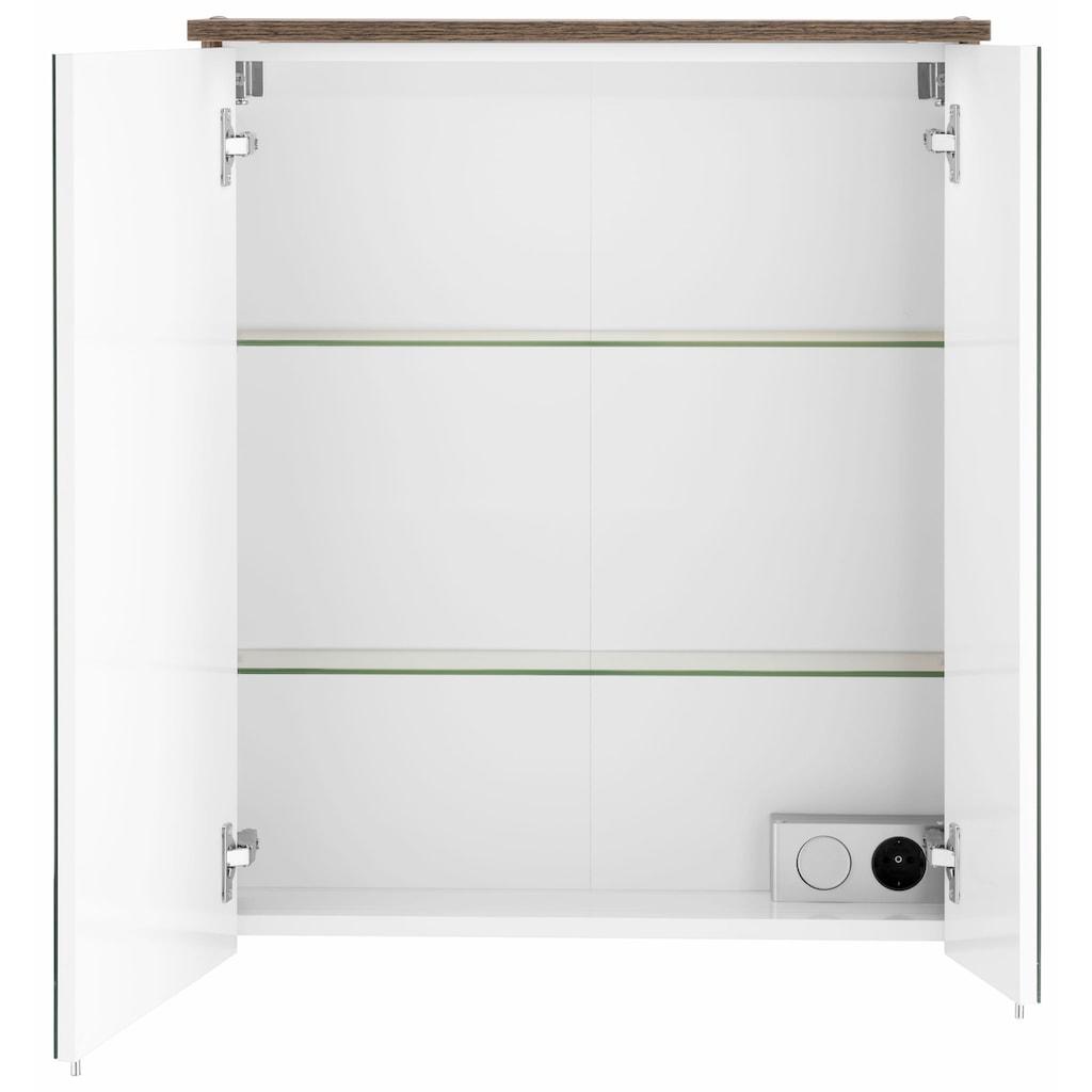Schildmeyer Spiegelschrank »Profil 16«, Breite 60 cm, 2-türig, eingelassene LED-Beleuchtung, Schalter-/Steckdosenbox, Glaseinlegeböden, Made in Germany