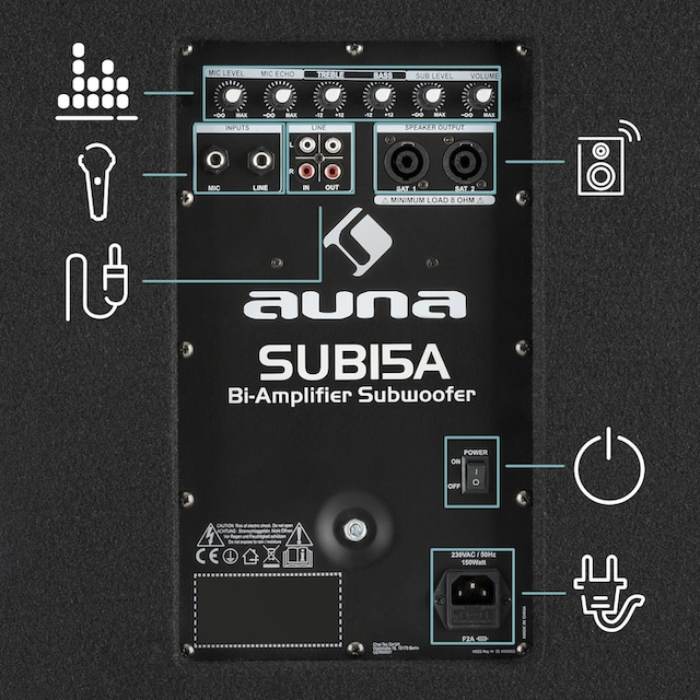 Auna Aktiver PA Subwoofer Bass Lautsprecher Bassbox 600 Watt »Sub15A«