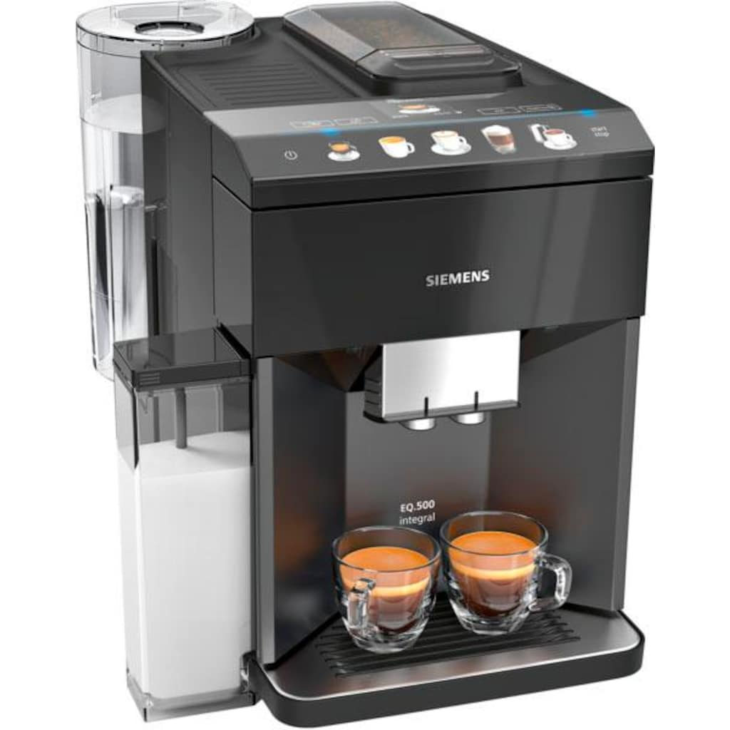 SIEMENS Kaffeevollautomat »EQ.5 500 integral TQ505D09«, einfache Bedienung, integrierter Milchbehälter, zwei Tassen gleichzeitig