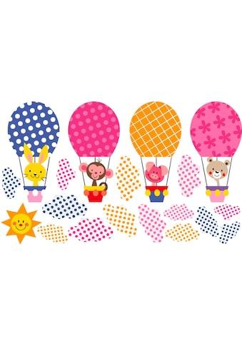 Wandtattoo »Muster  -  Lustige Tiere im Heißluftballon« kaufen
