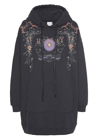 Replay Sweatkleid, cooles Kapuzenkleid mit großem Print und Kängurutasche kaufen