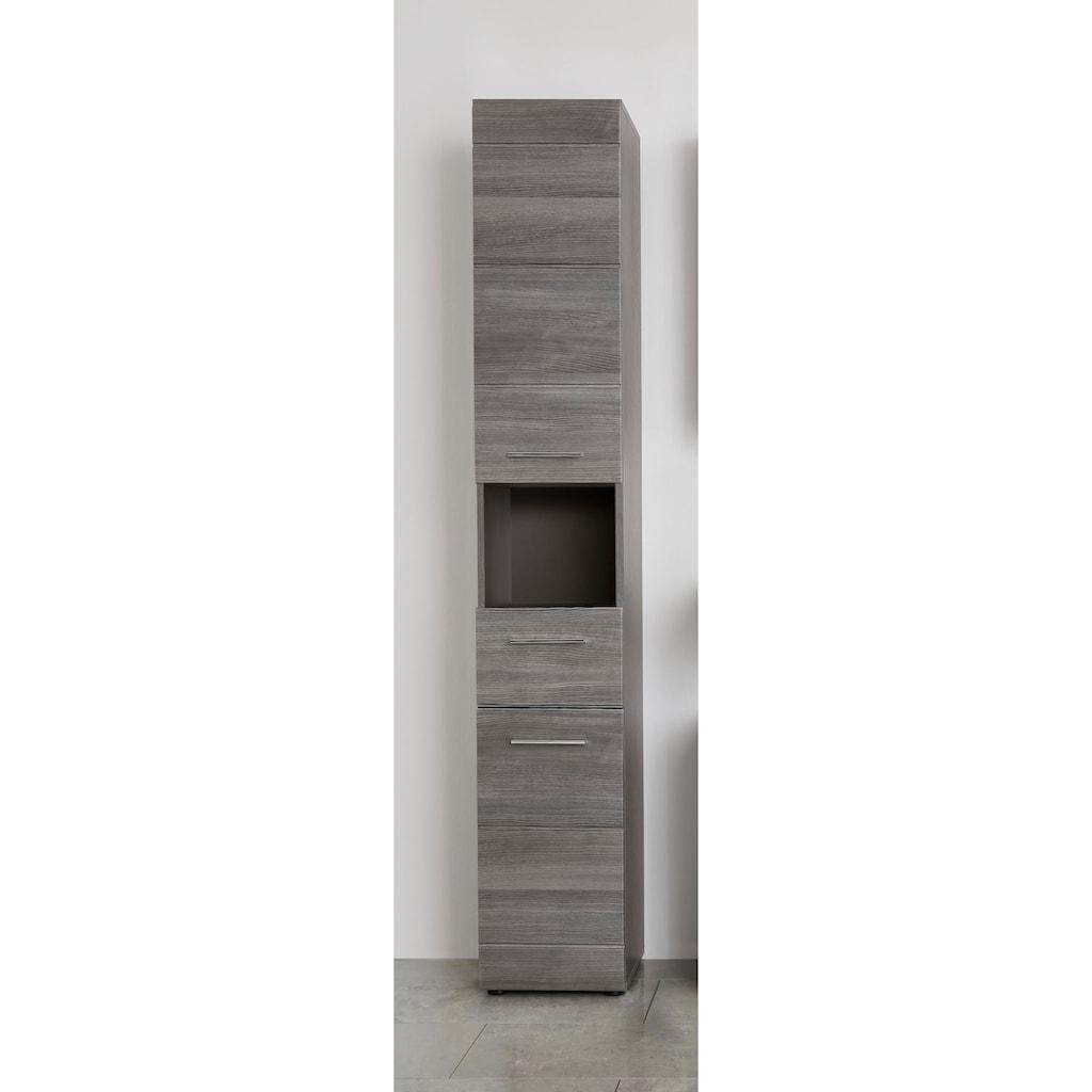 trendteam Hochschrank »Skin«, Höhe 182 cm, Badezimmerschrank mit Fronten in Hochglanz- oder Holzoptik, mit Schubkasten und offenem Fach