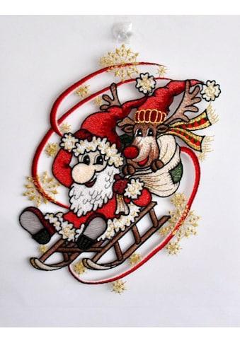 Stickereien Plauen Fensterbild »Weihnachtsmann mit Schlitten« kaufen