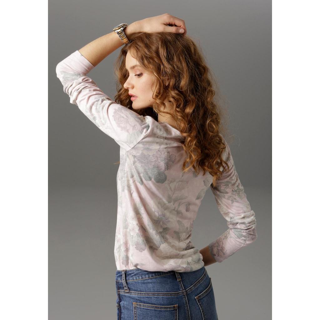 Aniston CASUAL Langarmshirt, mit Rüschen und Schnürung am V-Ausschnitt