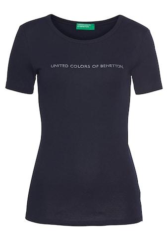 United Colors of Benetton T-Shirt, mit glitzerndem Label-Print vorn kaufen