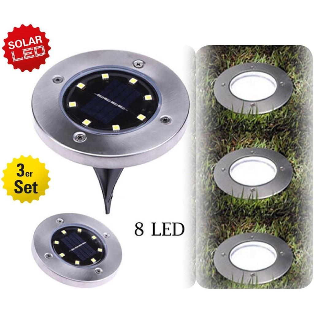 näve LED Gartenleuchte, LED-Board, Warmweiß, Solar Bodenleuchte mit Erdspieß, Set, 3 Stück