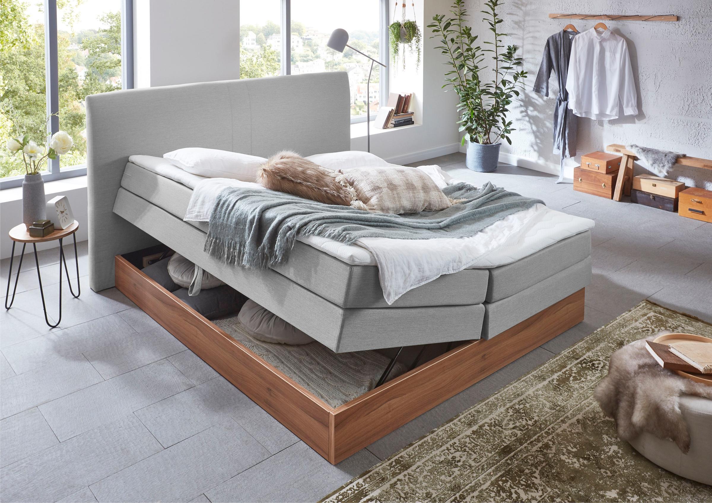 Premium collection by Home affaire Boxspringbett »Blomen«, mit Walnuss-Deko günstig online kaufen