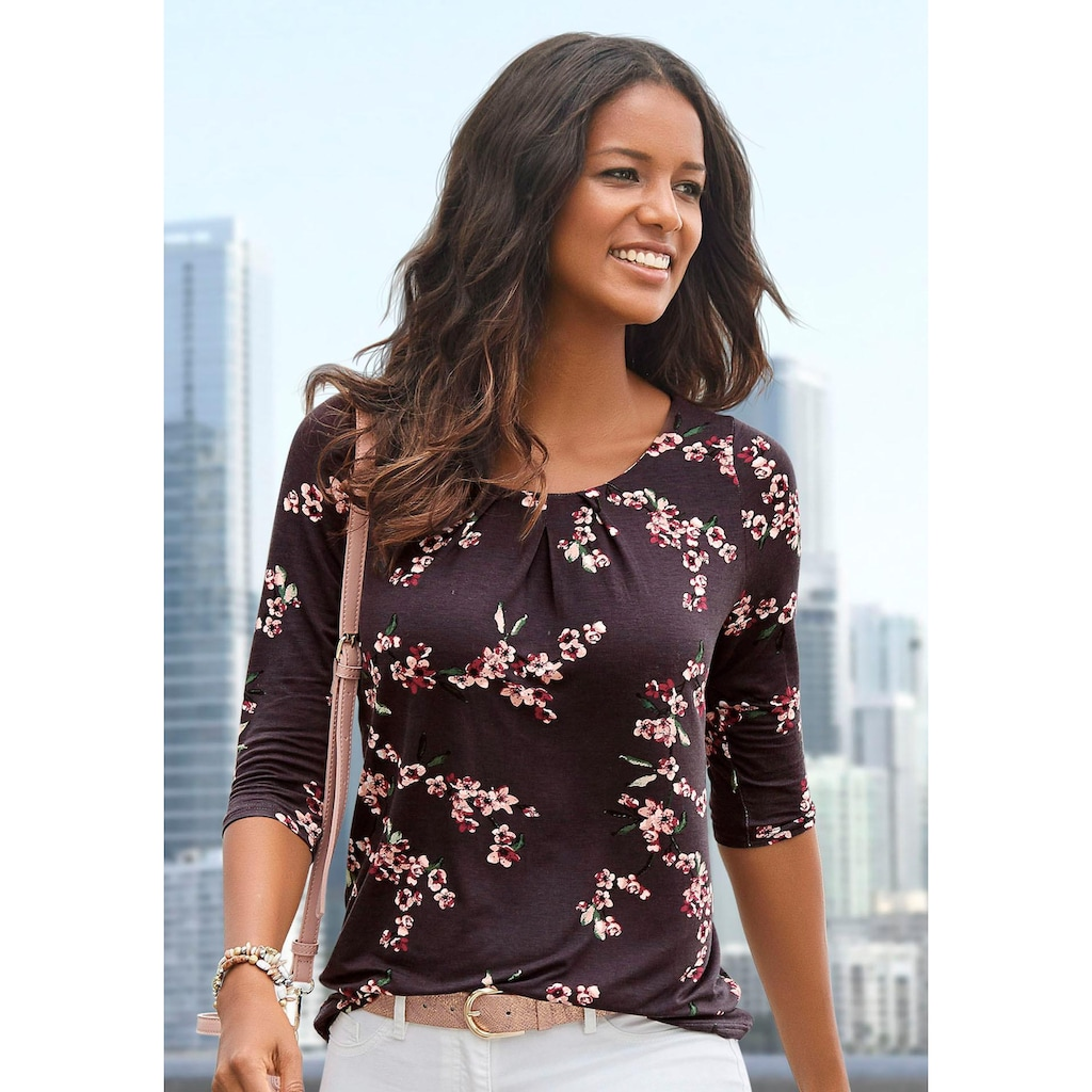 LASCANA 3/4-Arm-Shirt, mit tollen Falten am Ausschnitt