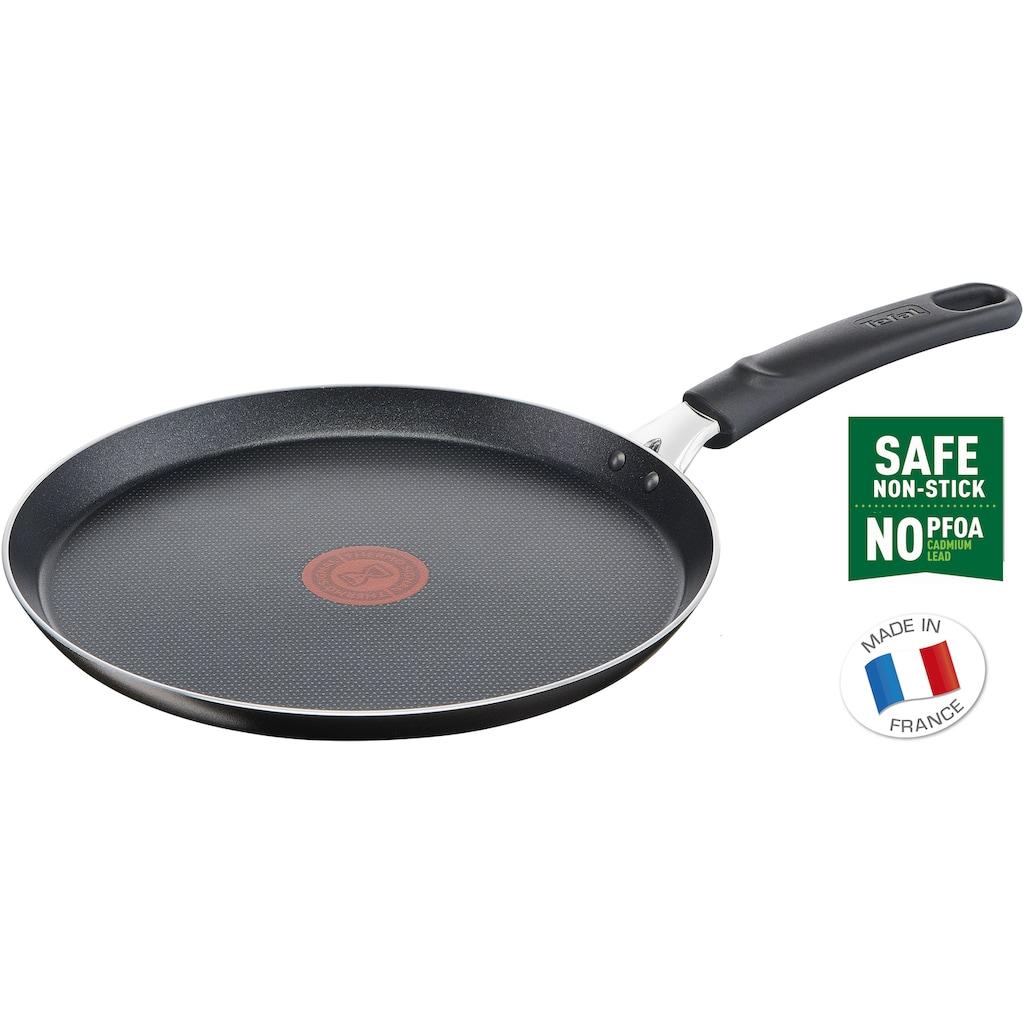 Tefal Crêpepfanne »B55509 Easy Cook & Clean«, Aluminium, (1 tlg.), Titanium Antihaftbeschichtung, Thermo-Signal-Temperaturanzeiger, große Bratfläche ideal für Crêpes, Ø 25 cm