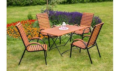MERXX Gartenmöbelset »Schloßgarten«, 5tlg., 4 Sessel, Tisch, stapelbar, klappbar, Eukalyptus kaufen