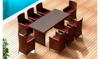 BAIDANI Gartenmöbelset »Elegancy XXL braun«, 17 - tlg., 8 Stühle, Tisch 90x200 cm, Alu/Polyester kaufen