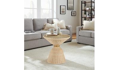 COUCH♥ Couchtisch »Taillentiert«, Tischplatte aus Glas, Rattan Geflecht kaufen