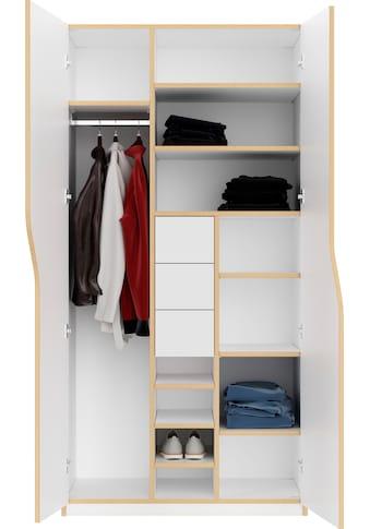 Müller SMALL LIVING Kleiderschrank »PLANE Ausstattung Nr. 4«, inklusive 3 innenliegenden Schubladen, einer Kleiderstange und 12 Fächern kaufen