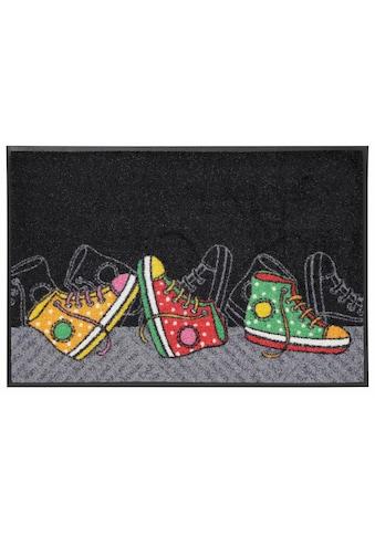 wash+dry by Kleen-Tex Fußmatte »Happy Sneakers«, rechteckig, 7 mm Höhe, Fussabstreifer, Fussabtreter, Schmutzfangläufer, Schmutzfangmatte, Schmutzfangteppich, Schmutzmatte, Türmatte, Türvorleger, In- und Outdoor geeignet, waschbar kaufen