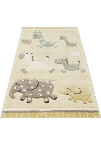 Esprit Kinderteppich »Kids Lucky Zoo 2.0«, rechteckig, 13 mm Höhe, Kinder Zoo Motiv Teppich kaufen