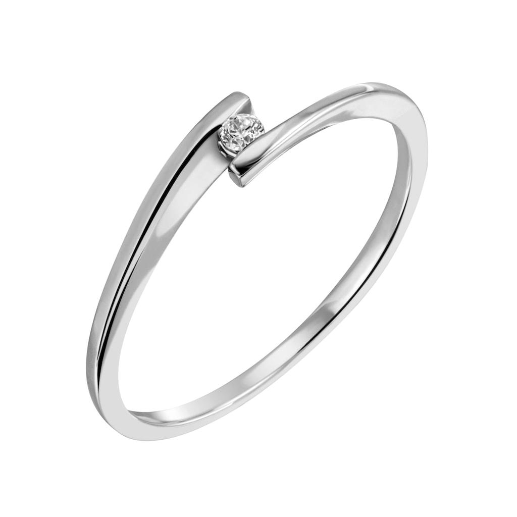 Firetti Diamantring »Solitär, modisch, Glanzoptik, massiv«, mit Brillant