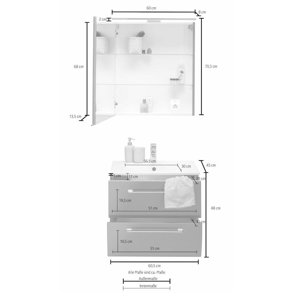 MARLIN Waschtisch-Set »Sola 3130«, (Set, 2 tlg.), vormontiert, für Gäste-WC geeignet